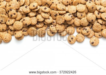 Chocolate chip cookies cereal on white background