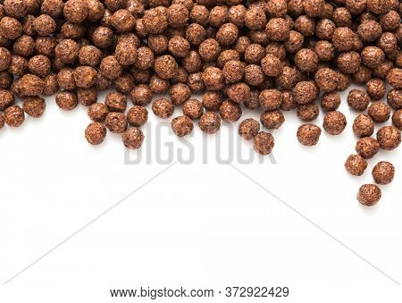 Chocolate corn balls on white background
