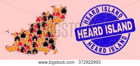 Fire Hazard And Homes Composition Guernsey Island Map And Heard Island Dirty Stamp Print. Vector Col