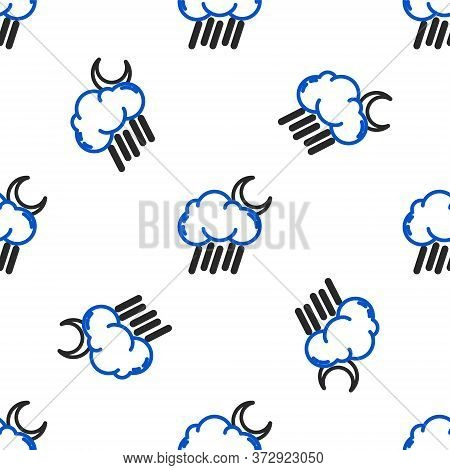 Line Cloud With Rain And Moon Icon Isolated Seamless Pattern On White Background. Rain Cloud Precipi