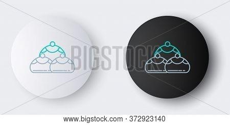 Line Jewish Sweet Bakery Icon Isolated On Grey Background. Hanukkah Sufganiyot. Jewish Easter Cake.