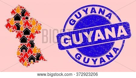 Fire Disaster And Realty Collage Guyana Map And Guyana Corroded Stamp Print. Vector Collage Guyana M