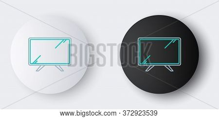 Line Smart Tv Icon Isolated On Grey Background. Television Sign. Colorful Outline Concept. Vector