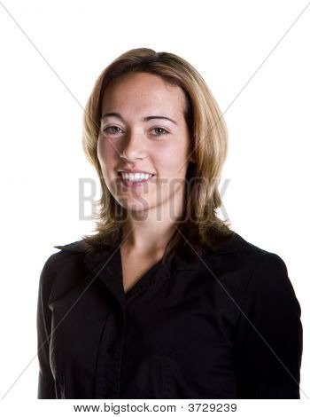 Young Blonde In Black Shirt With Nice Smile