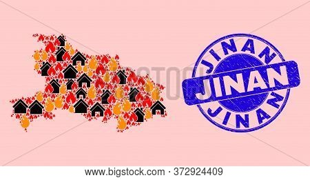 Fire Disaster And Realty Mosaic Hubei Province Map And Jinan Rubber Stamp Print. Vector Mosaic Hubei