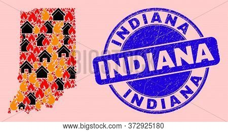 Fire And Homes Collage Indiana State Map And Indiana Grunge Seal. Vector Collage Indiana State Map I