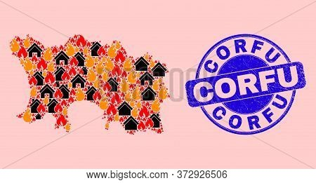 Fire And Homes Collage Jersey Island Map And Corfu Textured Stamp Imitation. Vector Collage Jersey I