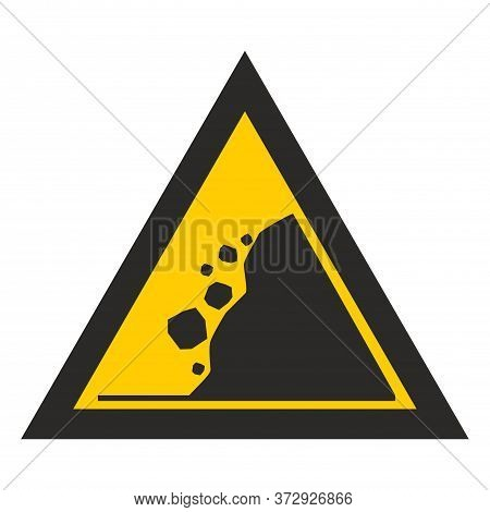 Yellow Triangle Rockfall. Warning Danger. Sign Isolated On White Background