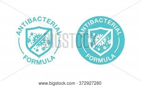 Antibacterial Formula Stamp - Shield With Crossed Bacteries Inside - Vector Isolated Sign For Antise