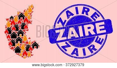 Fire Disaster And Property Collage Karnataka State Map And Zaire Scratched Stamp Seal. Vector Collag