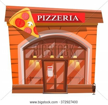 Exterior Of Pizza House Serving Italian Food And Bakery. Isolated Buildings Facade With Signboard An