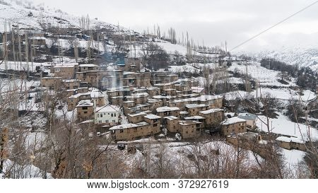 Hizan, Bitlis, Turkey - February 2020: Remote Village In Eastern Turkey Anatolia With Stone Houses,