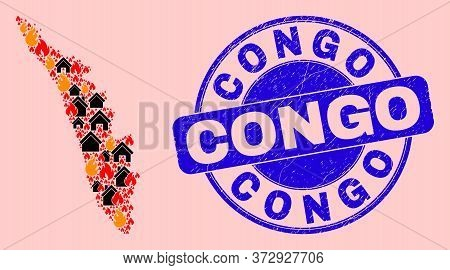 Fire Disaster And Homes Collage Kerala State Map And Congo Grunge Stamp Print. Vector Collage Kerala