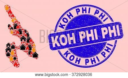 Fire Disaster And Property Collage Koh Phi Don Map And Koh Phi Grunge Stamp Imitation. Vector Mosaic