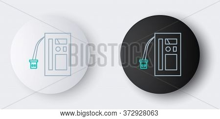 Line Battery Icon Isolated On Grey Background. Accumulator Battery Energy Power And Electricity Accu