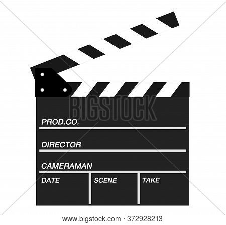 Two Movie Clappers Open And Close Isolated On White Background. Shown Slate Board.realistic Movie Cl
