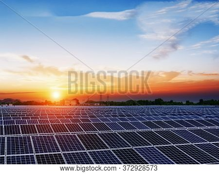 Beautiful Sky With Sunset And Solar Power Panels