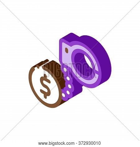Jail Or Freedom For Money Bail Icon Vector. Isometric Jail Or Freedom For Money Bail Sign. Color Iso
