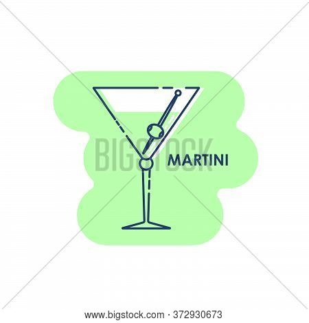 Wineglass Martini With Olive Line Art In Flat Style. Isolated On Colored Shape As Background. Restau