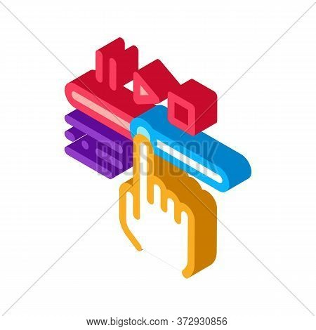 Rewind Video Icon Vector. Isometric Rewind Video Sign. Color Isolated Symbol Illustration
