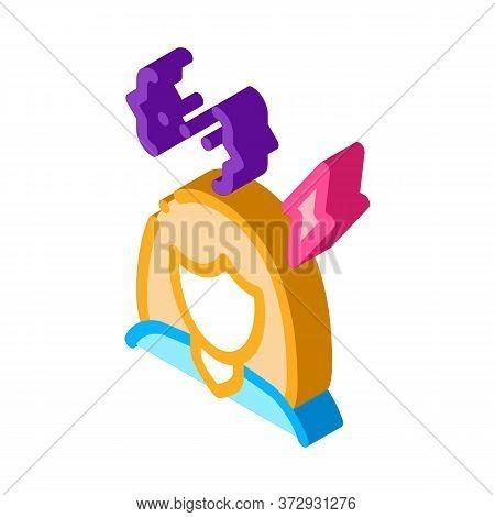 Emotionally Unstable Woman Icon Vector. Isometric Emotionally Unstable Woman Sign. Color Isolated Sy