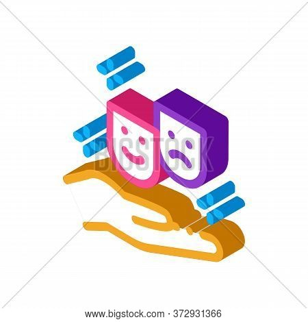 Masks Of Joy And Sadness On Hand Icon Vector. Isometric Masks Of Joy And Sadness On Hand Sign. Color