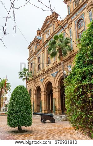 SEVILLA, SPAIN - January 13, 2018: Andalusia style building in Seville city, Spain