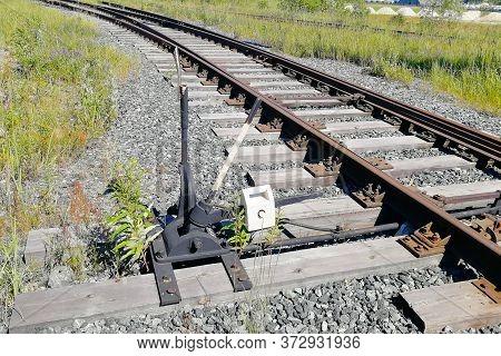 Adjustable Arrow On The Railway. Adjustable Arrow On A Fork In The Railway