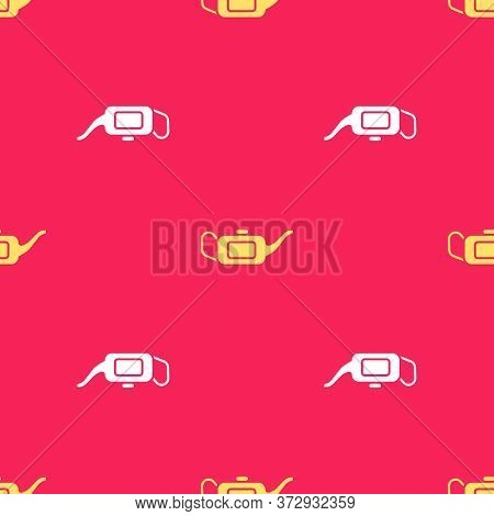 Yellow Canister For Motor Machine Oil Icon Isolated Seamless Pattern On Red Background. Oil Gallon.