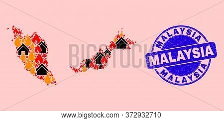 Fire Disaster And Realty Collage Malaysia Map And Malaysia Corroded Stamp Seal. Vector Mosaic Malays