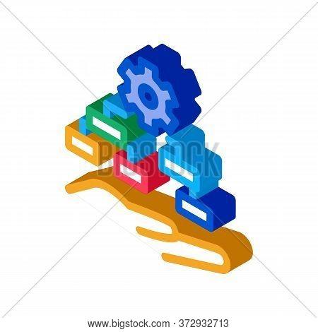 Settings Algorithm Icon Vector. Isometric Settings Algorithm Sign. Color Isolated Symbol Illustratio
