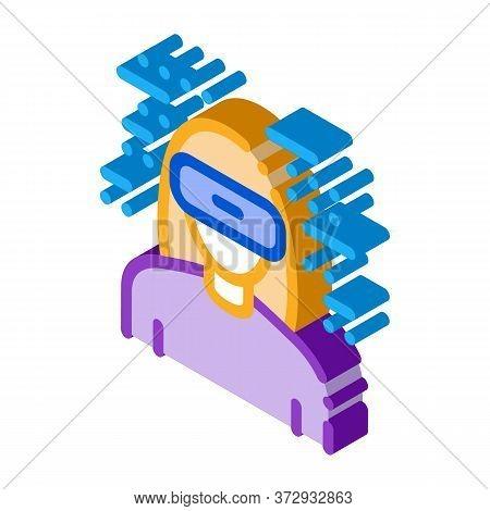 Woman Wearing Virtual Reality Glasses Icon Vector. Isometric Woman Wearing Virtual Reality Glasses S