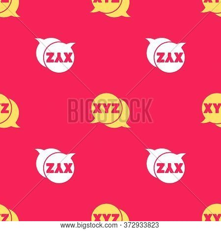 Yellow Xyz Coordinate System Icon Isolated Seamless Pattern On Red Background. Xyz Axis For Graph St