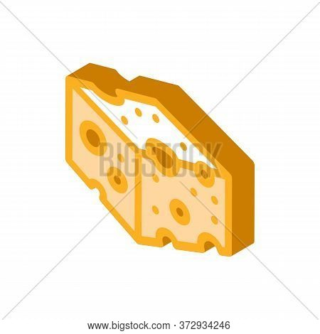 Coarse Cheese Bar Icon Vector. Isometric Coarse Cheese Bar Sign. Color Isolated Symbol Illustration