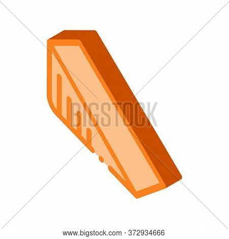 Triangular Piece Of Cheese Icon Vector. Isometric Triangular Piece Of Cheese Sign. Color Isolated Sy
