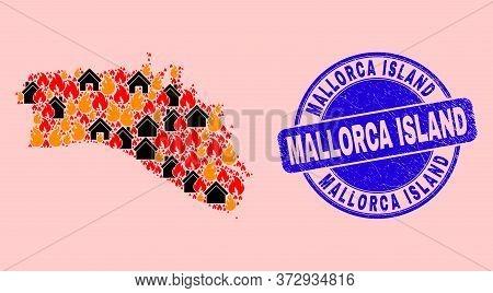 Fire Hazard And Property Mosaic Menorca Island Map And Mallorca Island Dirty Watermark. Vector Colla