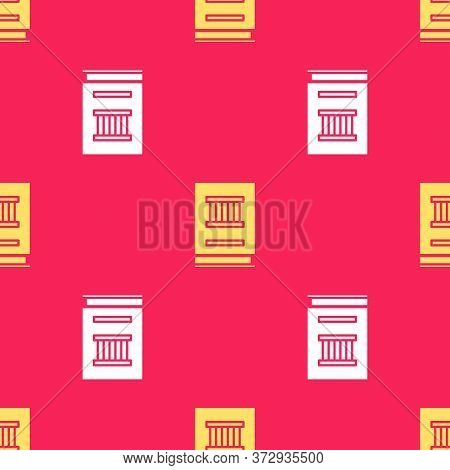 Yellow Law Book Icon Isolated Seamless Pattern On Red Background. Legal Judge Book. Judgment Concept