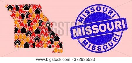 Fire Disaster And Buildings Collage Missouri State Map And Missouri Dirty Seal. Vector Collage Misso