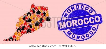 Fire Disaster And Homes Collage Morocco Map And Morocco Scratched Stamp Print. Vector Mosaic Morocco