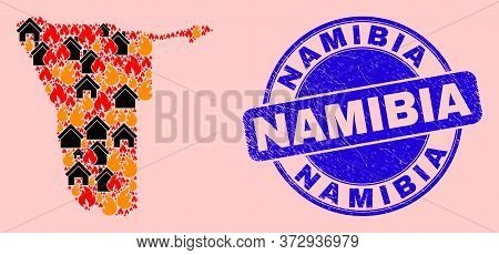 Fire Disaster And Homes Mosaic Namibia Map And Namibia Rubber Stamp Seal. Vector Mosaic Namibia Map