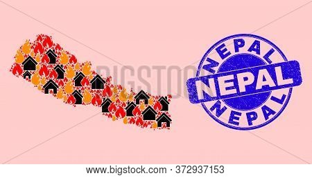 Fire And Houses Mosaic Nepal Map And Nepal Unclean Stamp. Vector Mosaic Nepal Map Is Designed From R