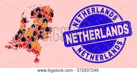 Flame And Homes Mosaic Netherlands Map And Netherlands Rubber Stamp Imitation. Vector Mosaic Netherl