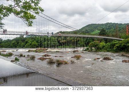 Kerala, India - Taken On 20/04/2019: Beautiful Nature View With Hanging Bridge During Mansoon Time W