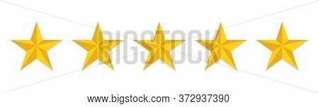 5 Stars Rating Flat Icon. Yellow Like Sign Feedback Customer Of Evaluation Quality. Five Star Hotel