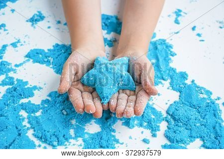Kids Creativity. Kinetic Sand Games For Child Development At Home. Sand Therapy. Children's Hands Ma