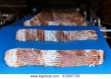 Raw Rasher Bacon Slide Ready To Pack In Packaging On Conveyor Belt Of Automation Meat Slide Machine
