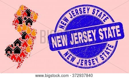 Fire And Houses Collage New Jersey State Map And New Jersey State Unclean Seal. Vector Mosaic New Je