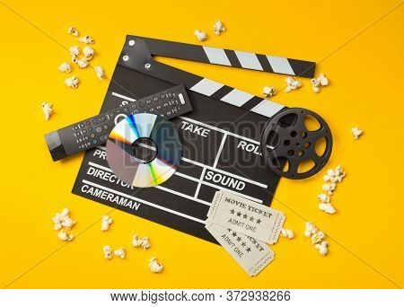 Single, Black, Open Movie Clapper Or Clapper-board With Dvd Movie Disc, Film Reel, Popcorn, Remote C