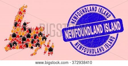 Fire Hazard And Homes Collage Newfoundland Island Map And Newfoundland Island Dirty Stamp Imitation.