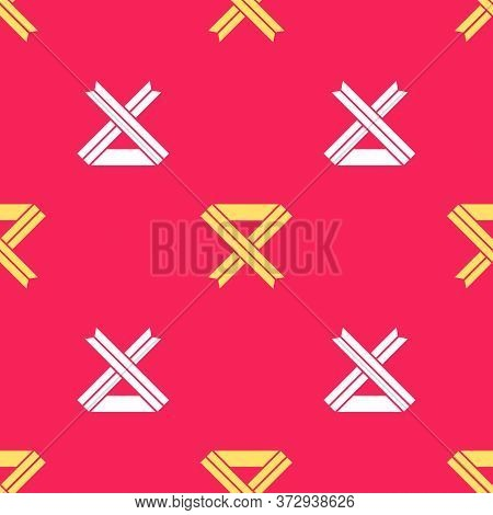 Yellow Breast Cancer Awareness Ribbon Icon Isolated Seamless Pattern On Red Background. World Breast